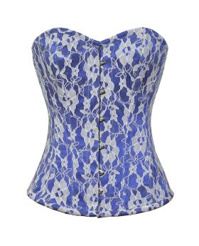 Xanthe Floral Net Overlayed Authentic Overbust Corset  Sweet heart Overbust pattern perfect for long ,medium & short torso female