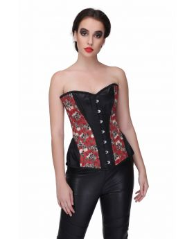 Skull Rose Print with Brocade Waist Training Overbust Corset