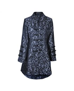 Black and silver long brocade ladies jacket