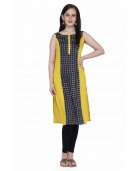 Lemon yellow and black kurti