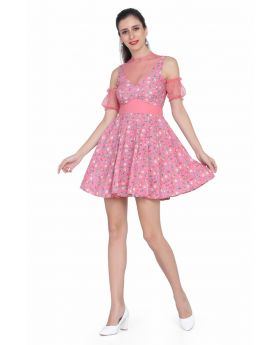 Ladies Pink Retro Dress
