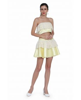 Light yellow and off white western dress.