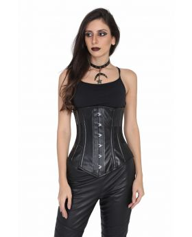 Black Fake Leather Steel Boned Underbust Corset
