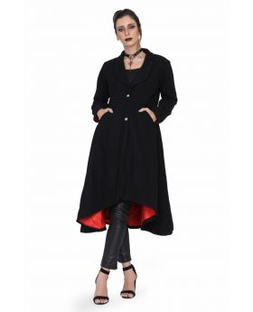 black valuate long high front low length women coat.