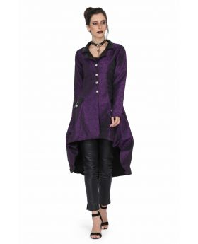 Ladies high low brocade jacket