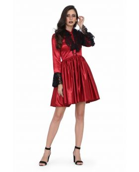Ladies Laced Gothic Red Dress
