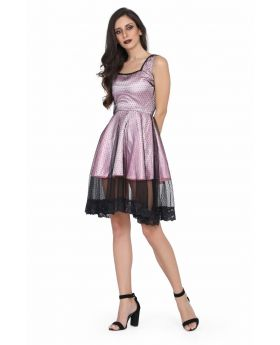 Ladies Pink and Black mesh gothic dress