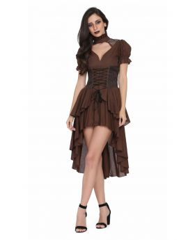 Brown cotton high low Ladies Steampunk dress