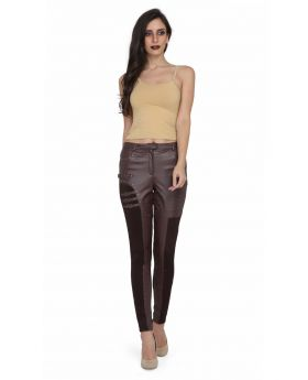 Ladies brown PU hosiery pant