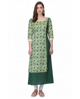 Green A-Line Cotton Kurti