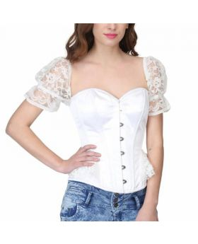 Waist reducing overbust corset with shoulder puff