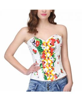 Summer Print Sweetheart Waist Reducing Overbust Corset