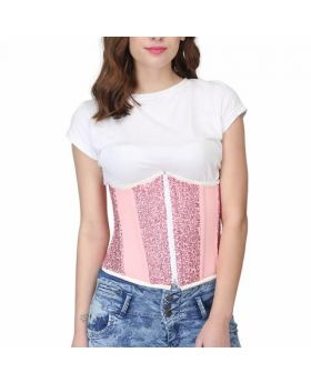 Printed Acrylic Boning Corset without Back Lace