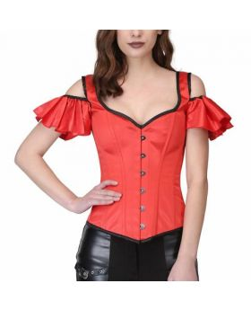 Red Gothic Overbust Corset with Shoulder Strap
