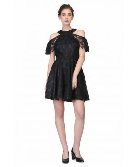 Black satin overlayed floral mesh ladies drop shoulder gothic dress