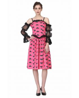 CAT PRINT RUFFEL DRESS