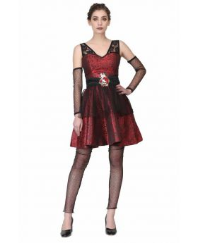 Black/red brocade Gothic dress