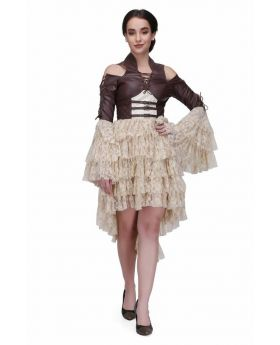 Brown and off white steampunk layered dress