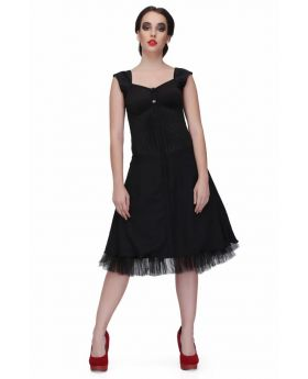 Black flared fitted corset dress