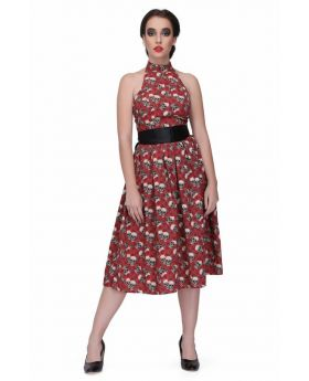 Red/Black printed gothic knee length dress