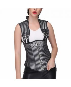 Black/silver brocade underbust corset with shoulder strap