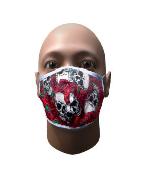 Red double layer cotton printed mask