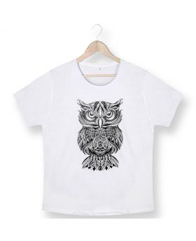 Unisex white owl dtg printed cotton t-shirt